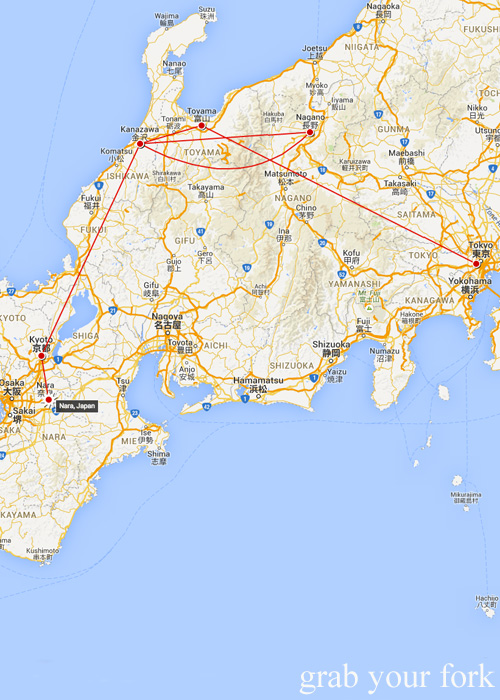 Map of our journey from Tokyo to Nara