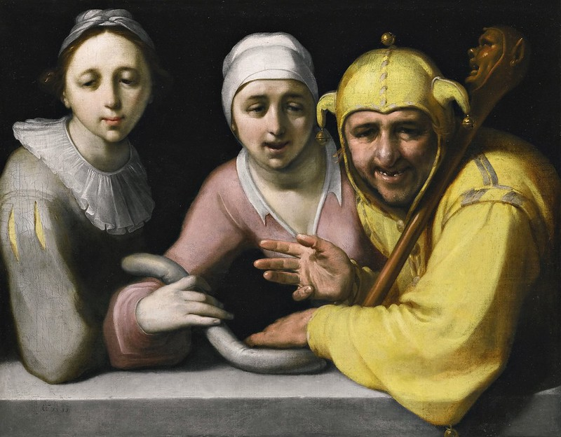 Cornelis Cornelisz. van Haarlem - A fool with two women (1595)