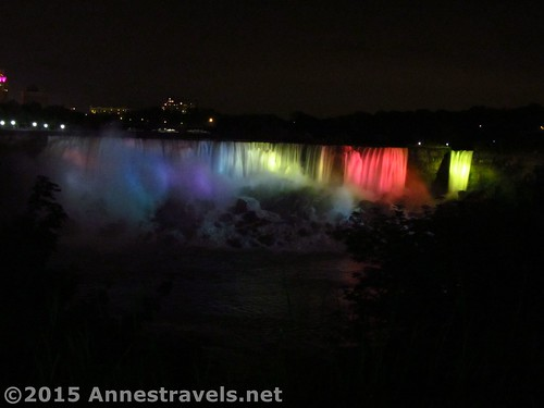 Illuminated American Falls from the Canadian side of the gorge, Niagara Falls State Park, New York and Niagara Falls, Canada