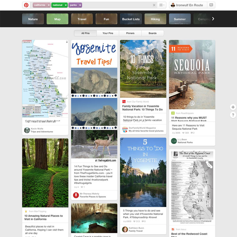 Trip planning and inspiration with pinterest