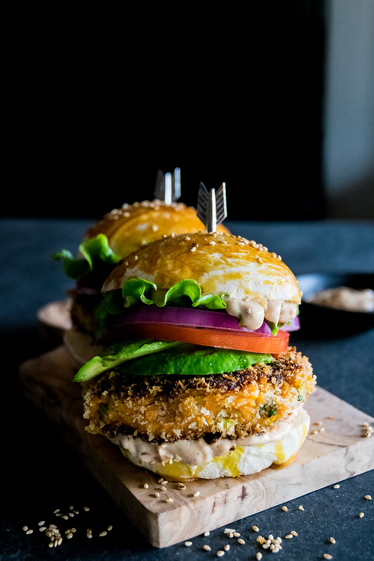 sweet potato burgers with chipotle mayo