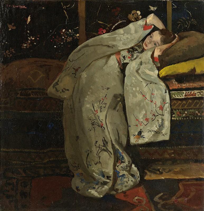 George Hendrik Breitner - Meisje in witte kimono (1894)