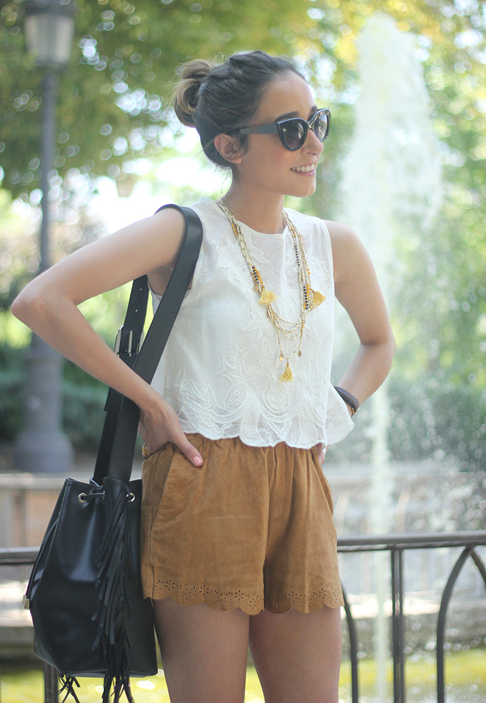 Suede Shorts White Top Summer Outfit10