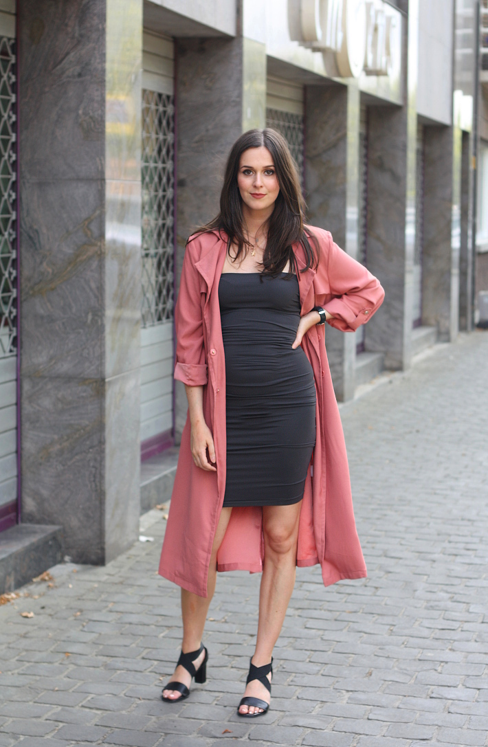 outfit: Wolford Fatal dress paired with a dusty rose trench coat