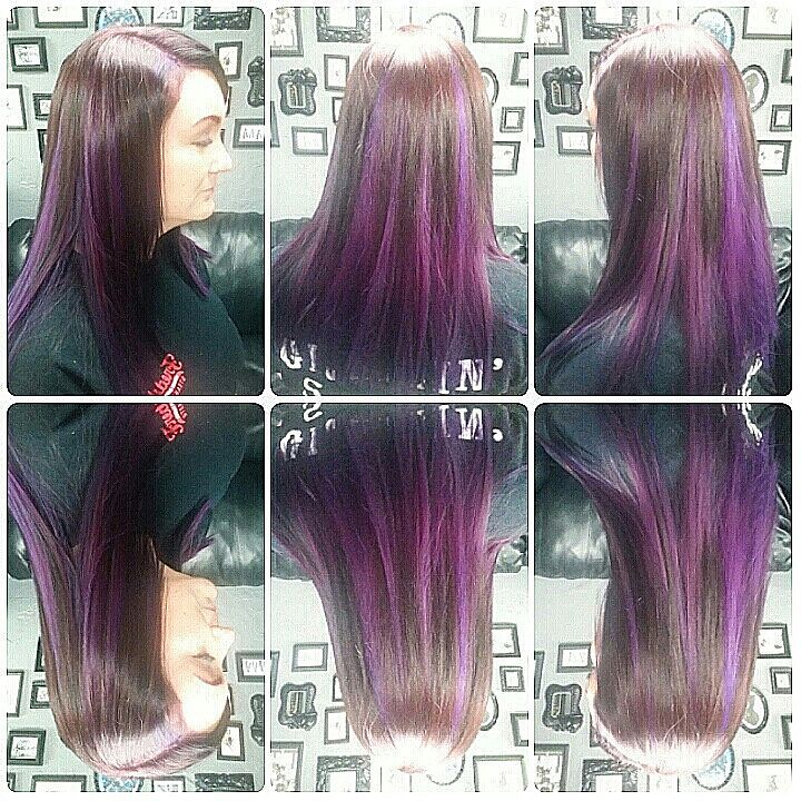 peekaboo star pattern how to hair variegated purple toned