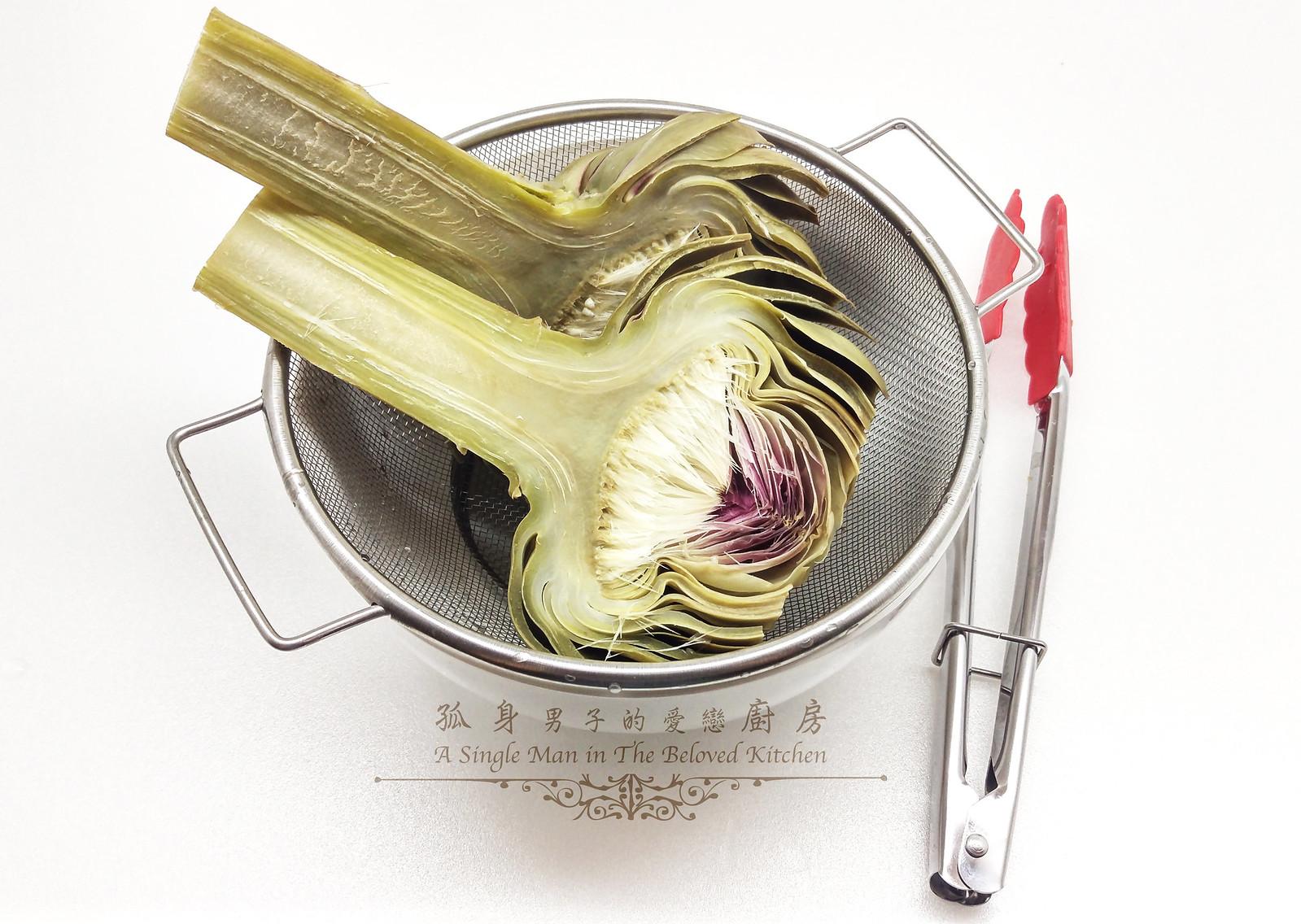 孤身廚房-青醬帕瑪森起司鑲烤朝鮮薊佐簡易油醋蘿蔓沙拉10