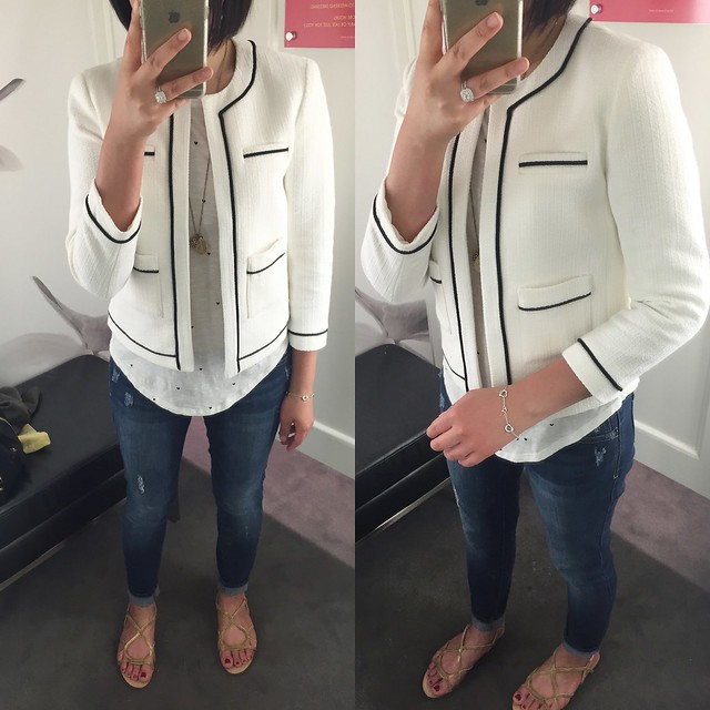 Ann Taylor Collarless Tipped Jacket, size 0P
