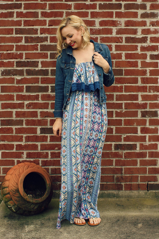blue printed maxi dress 2