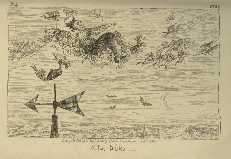 "George Cruikshank - ""Elfin Tricks"" Illustration from ""Letters On Demonology And Witchcraft"" by Walter Scott, 1830"