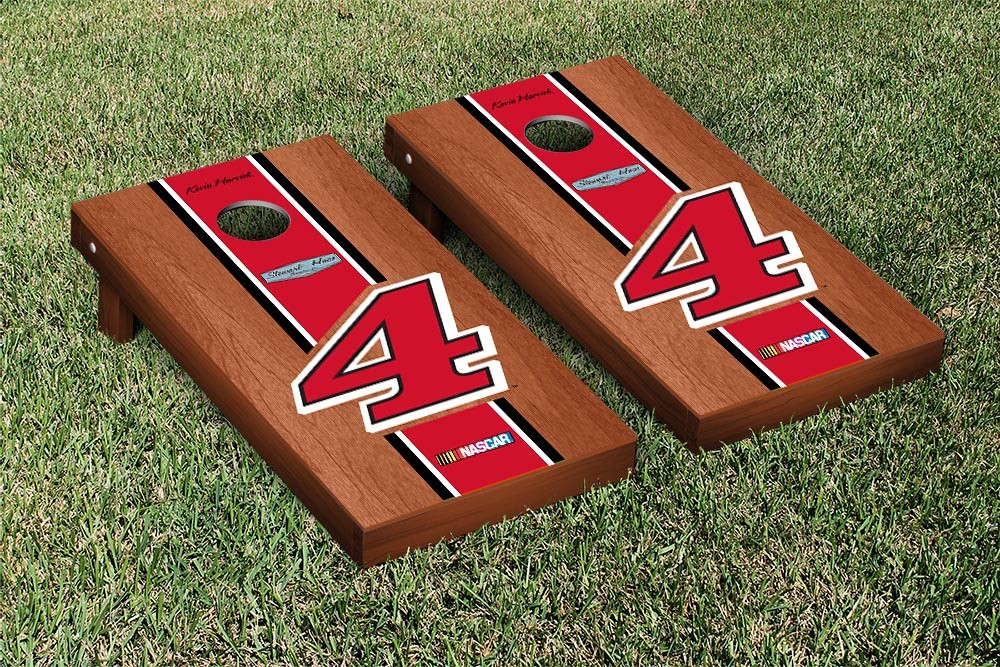 KEVIN HARVICK #4 CORNHOLE GAME SET ROSEWOOD STAINED RED STRIPE VERSION