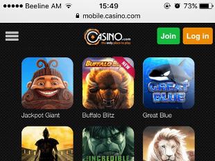 Casino.com Mobile Lobby