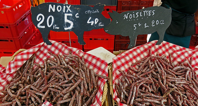 Rouen Farmers Market Sells Sausages 20 for 5 Euros