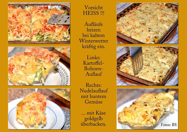 Auflauf, Aufläufe ... Kartoffeln, Nudeln, Gemüse ... mit geriebenem Käse goldgelb überbacken ... Fotos: Brigitte Stolle