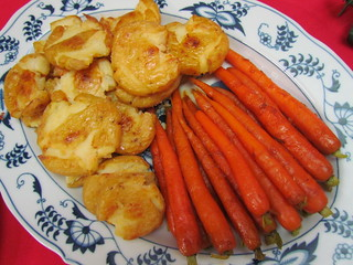 Potato Squashers and Glazed Baby Carrots