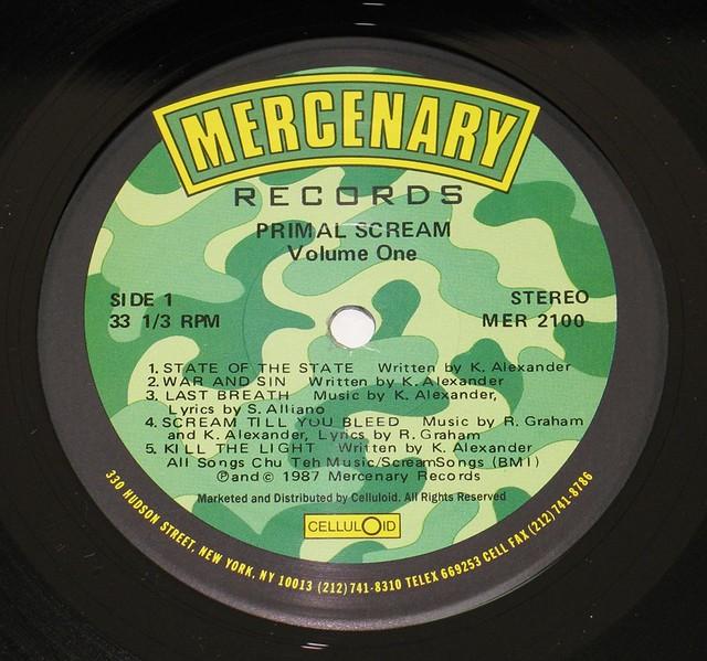"PRIMAL SCREAM VOLUME ONE MERCENARY RECORDS 12"" vinyl LP"