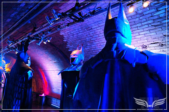 The Establishing Shot: BATMAN: ARKHAM KNIGHT CAPE & COWL EXHIBITION - R-L ECLATER BY NOEL CLARKE, FR... BY CRASH & BATWOMAN BY KID ACNE - KACHETTE, LONDON