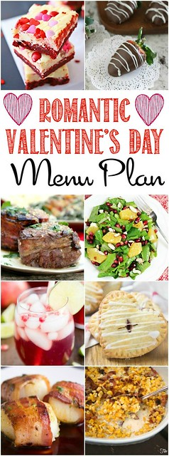 Romantic Valentines Day Menu Plan collage.