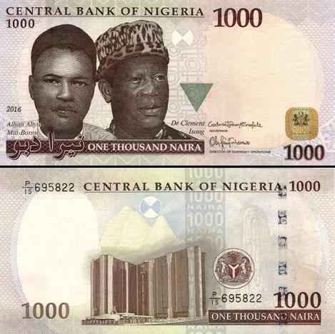 1000 Naira Nigéria 2016, P36i