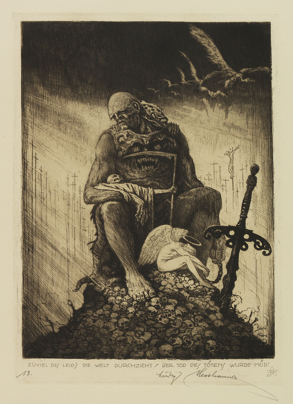 "Ludwig Hesshaimer - The Mountain of Skulls - ""Too much suffering pervades the world. Death has grown tired of killing."""