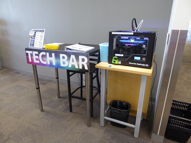 tech bar including 3D printer - May Library