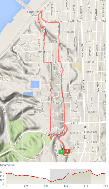 """Today""""s awesome walk, 3.53 miles in 1:11, 7,589 steps, 337 ft gain"""