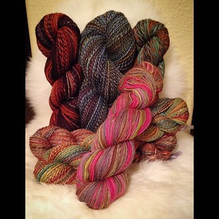 And all the yarns from the tour. Approximately 1.75 lbs spun. 2388 yards of finished yarn, from about 5406 yards of singles spun. | by WoodlandSprite