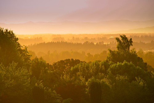 Dusk looking out to the Coastal Range