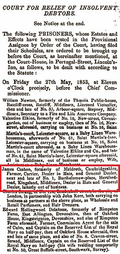 Debtors court appearance May 1853
