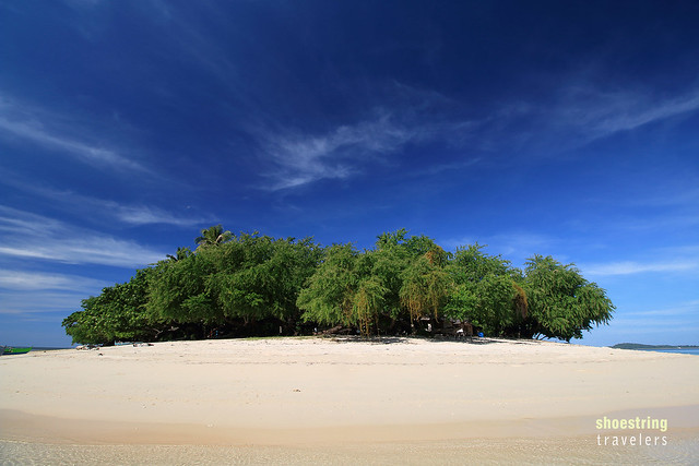 cluster of trees over white sand at Potipot Island