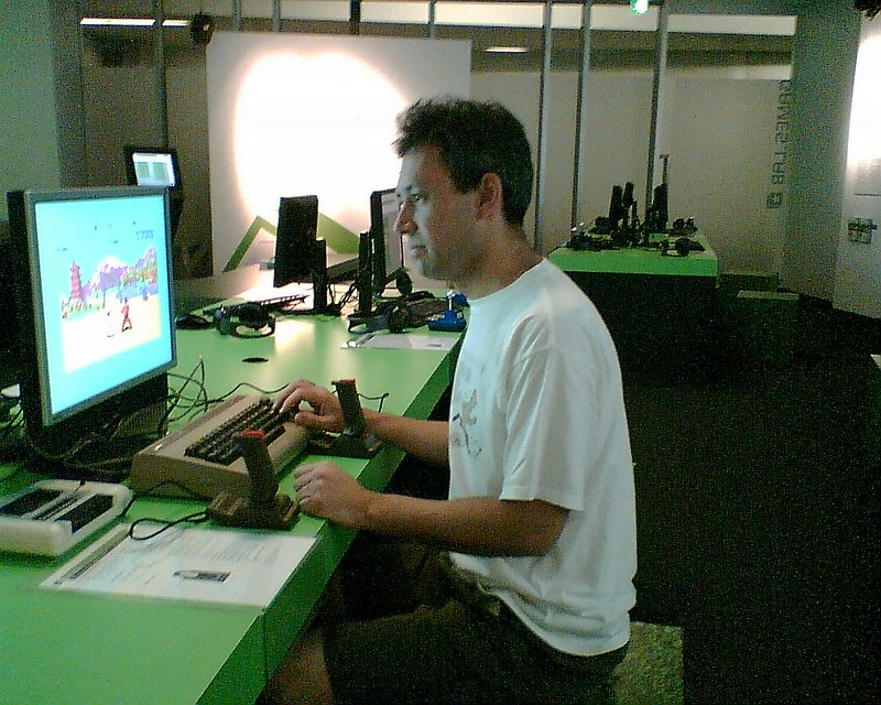 Playing Commodore 64 games at ACMI, February 2007