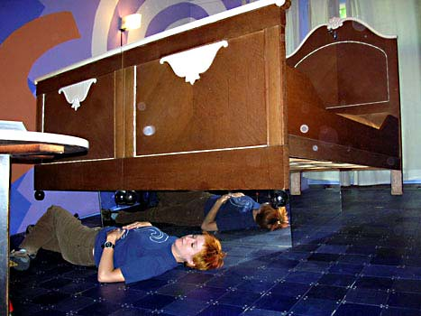 propeller island city lodge karen is under the flying bed flickr. Black Bedroom Furniture Sets. Home Design Ideas