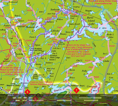 Algonquin park canoe routes map