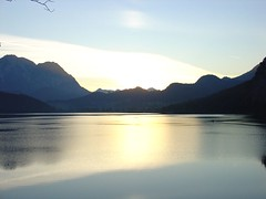 "Sunset at the ""Altausseer See"" (""lake of Altaussee"") 