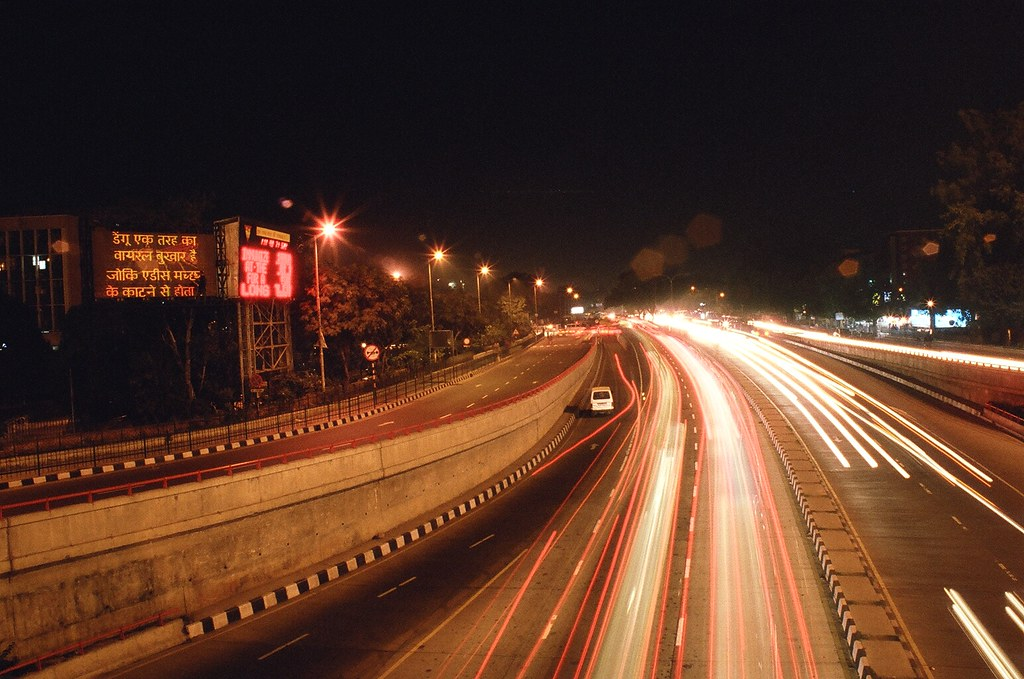 aiims flyover by night