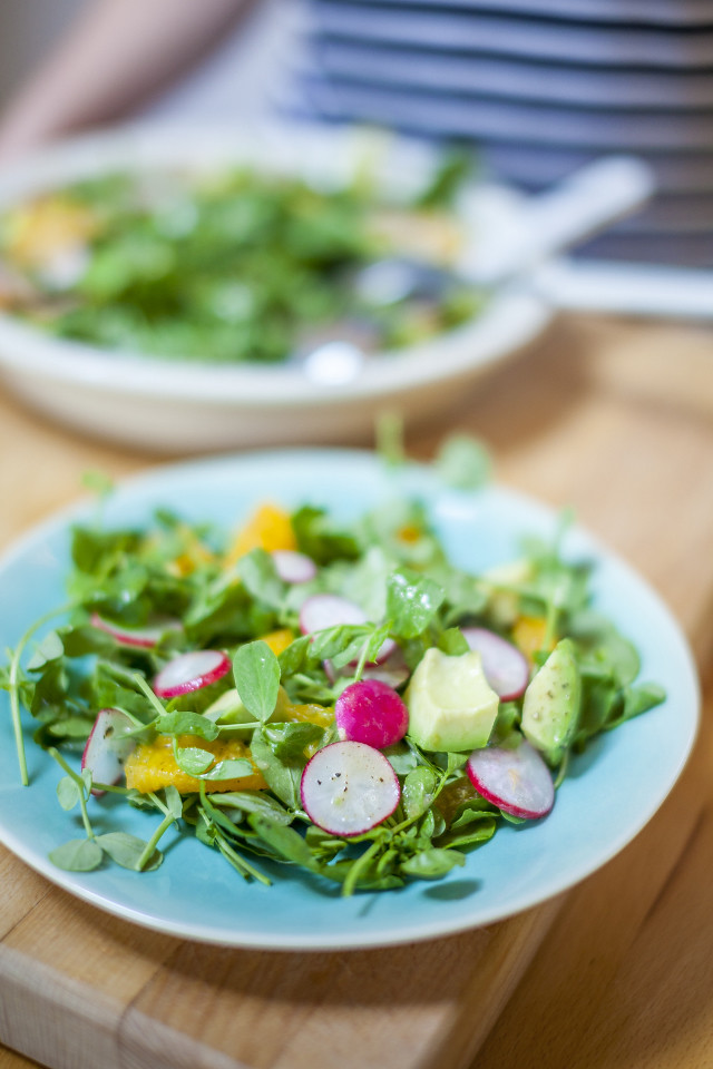 Avocado, Radish, Pea Shoot & Orange Salad, Borough Market Market Life Issue 20