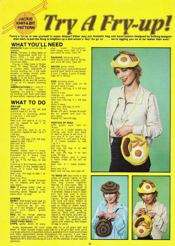 Fry Up Knitting Pattern Jackie Magazine 1979 Spiralsheep Flickr
