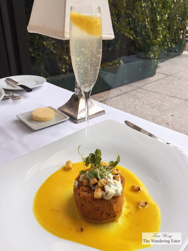 Crab Cake with Otello's Kiss cocktail