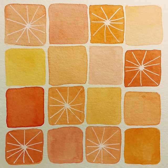 I'm feeling super rusty in my creativity. Even after thinking about today's theme (#citrus) for #patternjanuary all day long, this was all I came up with. Also, this is the first time I've probably touched my watercolors in months. Here's hoping things ge