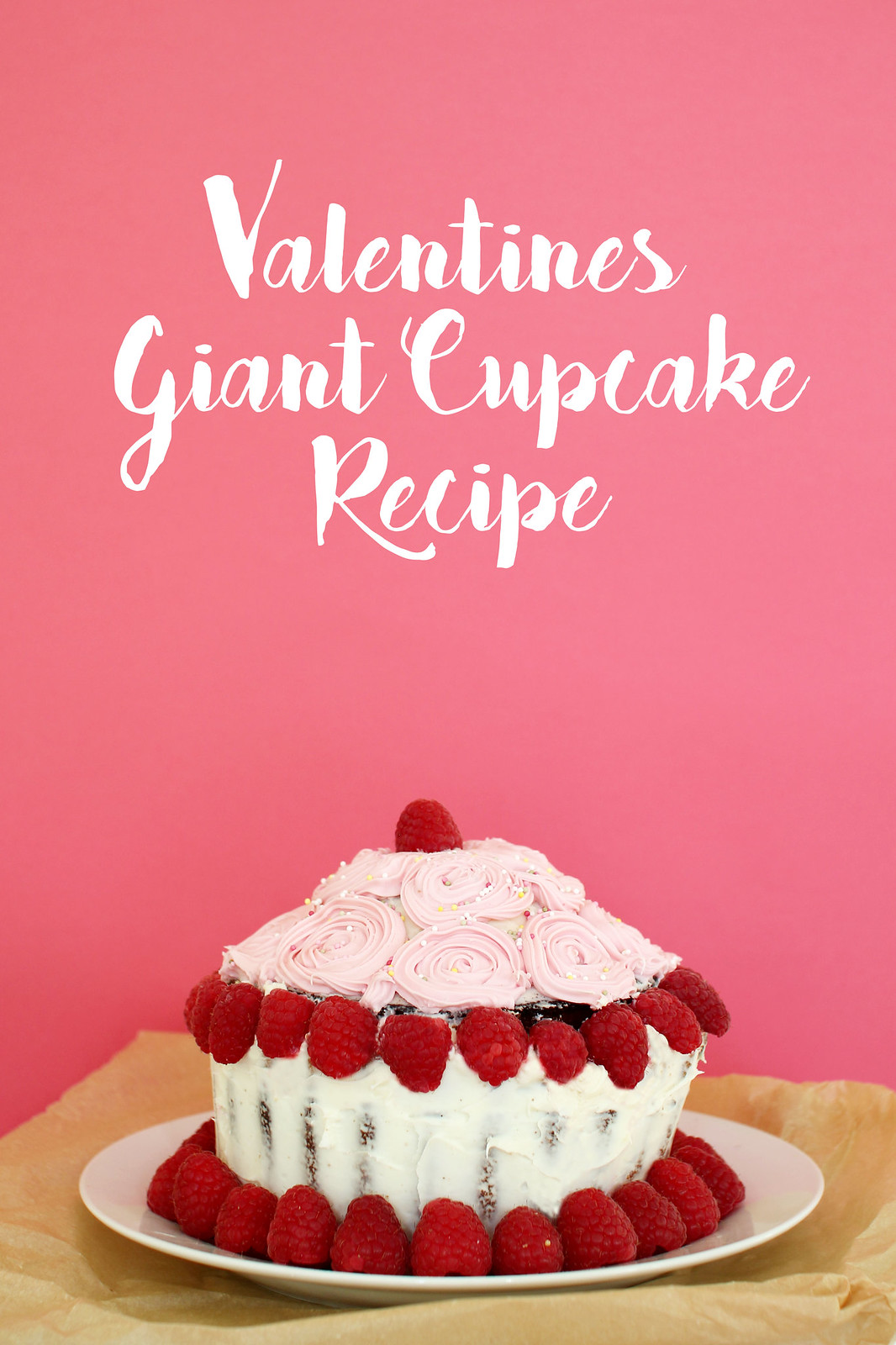 Valentines giant cupcake raspberry vanilla recipe uk blogger