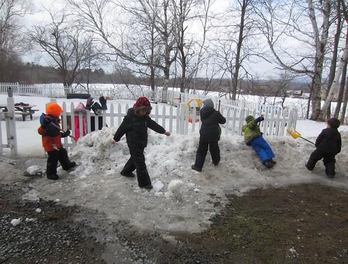breaking down the snowbank