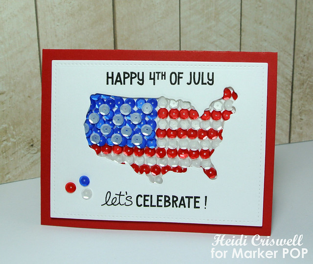 Patriotic card using Lawn Fawn stamps and dies, and Pretty Pink Posh sequins  http://craftytime4u.blogspot.com/2015/06/patriotic-4th-july-card-using-sequins.html?m=1