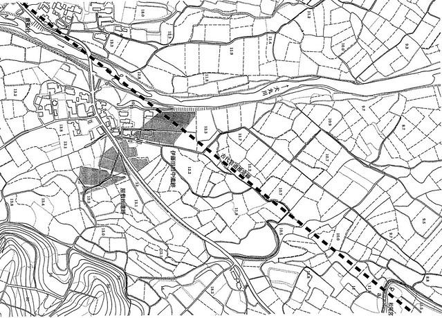 伊藤田田中遺跡_周辺の地形と調査箇所(昭和51年圃場整備前の状況)