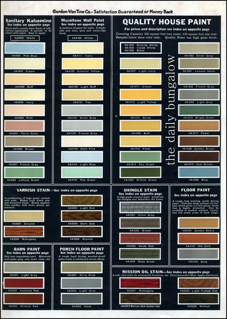 1931 Gordon Van Tine House Paint 1930 39 S Color Palette From Flickr