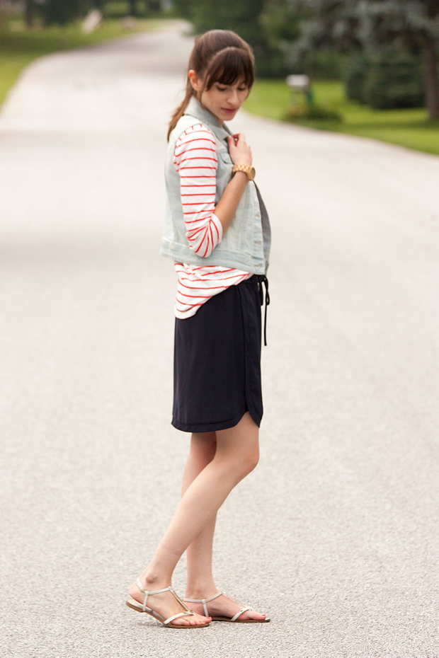 Denim Vest, Striped Tee, Navy Skirt