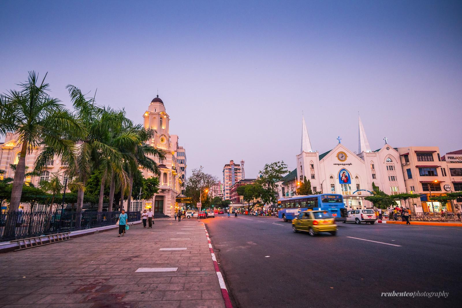 Yangon City Center at Sunset