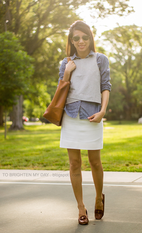 gray cropped top, chambray shirt, white skirt, cognac brown tote, brown loafers