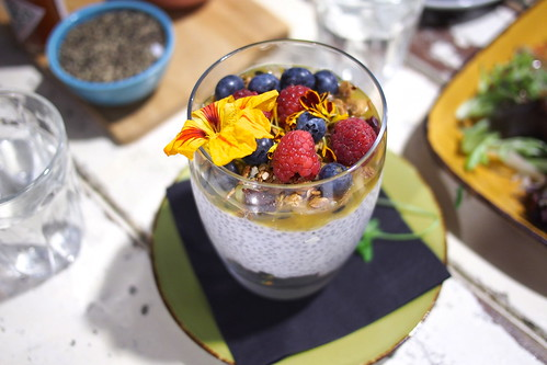 Flat White Coffee and Brunch in Melbourne: Manchester Press (Rankins Lane) - chia seed and coconut pudding with passionfruit coulis, topped with toasted oats, dried cranberries, and fresh berries