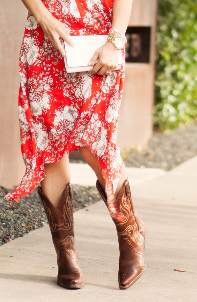 cute & little blog   petite fashion   red floral hankerchief dress, ariat cowboy boots, tory burch white cross body   summer outfit