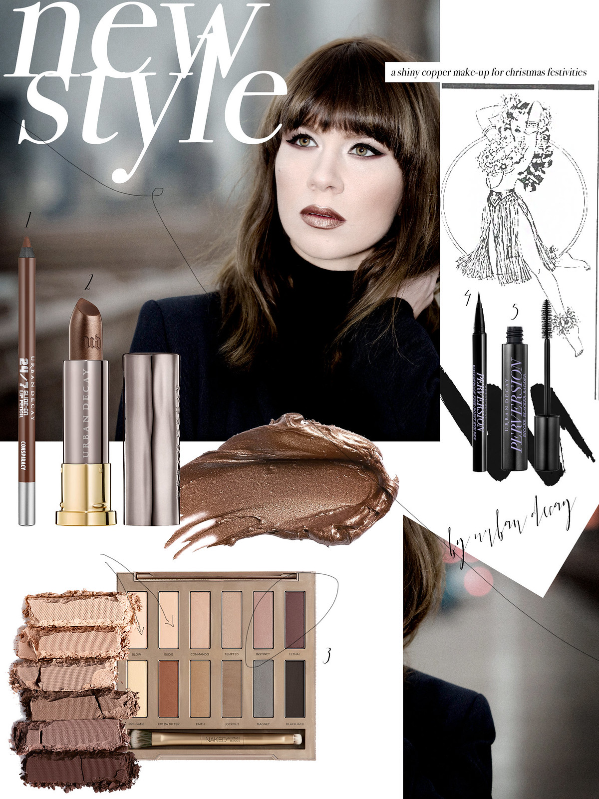 urban decay new york city brooklin bridge beauty with an edge magazine style trends collage beautyblogger lipstick christmas festive makeup styling pink brown metallic cats & dogs beautyblog ricarda schernus bangs brunette berlin fashionblogger 2