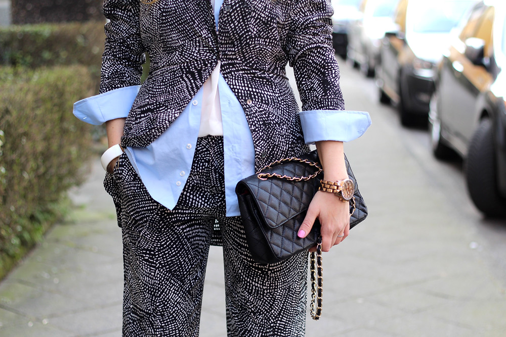 H&M Trend silk suit black and white zara sandals
